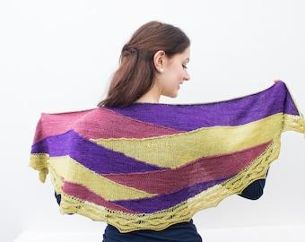 Blown Glass - Crescent Shawl knitting pattern - yarn kit - knitting kit - large shawl - colour blocked wrap - Evening shawl - large wrap