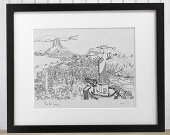 Rio de Janeiro doodle print