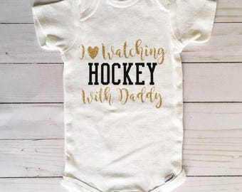 I Heart Watching Hockey With Daddy Onesie, Hockey Onesie, Hockey Fan Onesie, Baby Girl Onesie, Daddy's Little Girl Onesie, Hockey Fan Gift