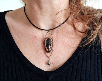 Leather necklace with embroidered Obsidian amulet pendant and Pyrite on Miyuki pearl leather