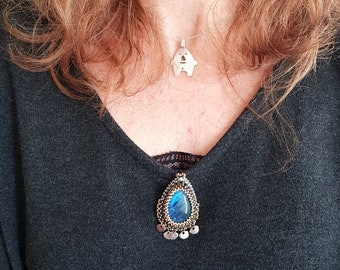 Blue Labradorite brooch embroidered on miyuki beaded leather with stainless steel charms, handmade
