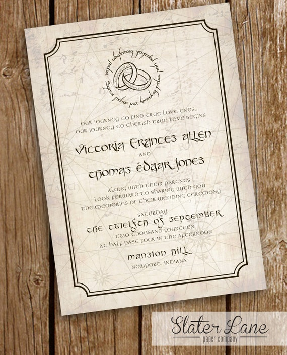 Herr Der Ringe Hochzeit Einladung Karte Mordor Elfen Etsy