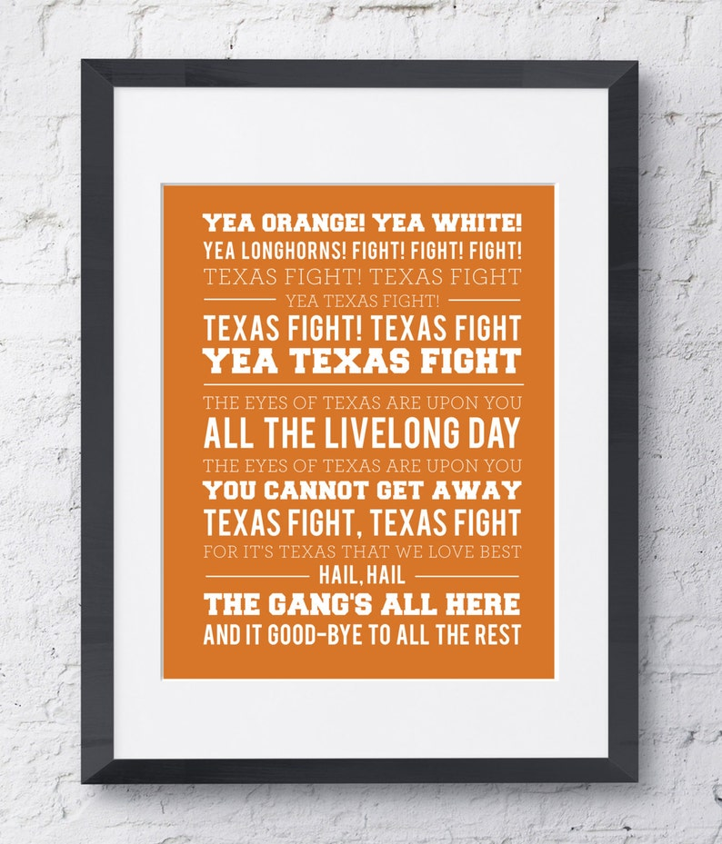 graphic about Fight Song Lyrics Printable known as College or university of Texas Beat Tune Wall Artwork - Printable Obtain - Orange and White - 8x10