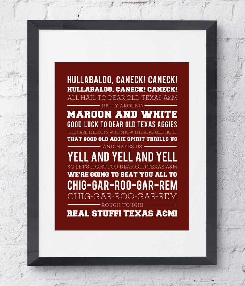 image about Fight Song Lyrics Printable identify Texas AM Battle Music Wall Artwork - Printable Obtain - Pink and White - 8x10