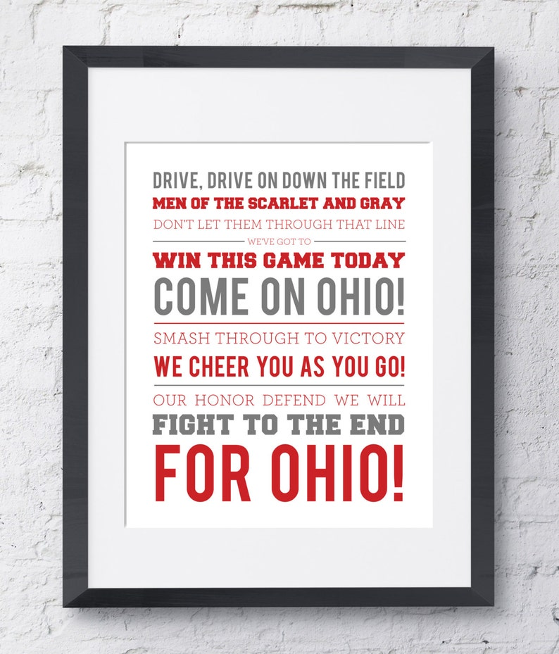 photograph relating to Fight Song Lyrics Printable referred to as The Ohio Region College or university Overcome Tune Wall Artwork - Printable Obtain - Scarlet and Gray - 8x10