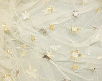 Sequined Star Tulle Lace Fabric, Tulle Fabric, Soft Tulle Fabric, Star Tulle, Tulle, Fabric, Sewing