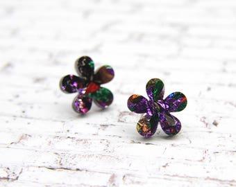In Bloom Laser Cut Acrylic Flower Stud Earrings - Various Colours
