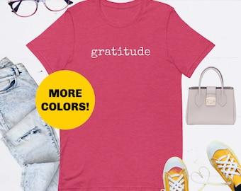Gratitude Short-Sleeve Unisex Heather T-Shirt, Grateful T-shirt, Women, Gift for Her