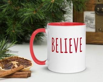 Believe Christmas Mug, Red Trim, Christmas Gift, Holiday Gift, Holiday Coffee Mug, One Word Mug, Holiday Drinkware, Minimalist