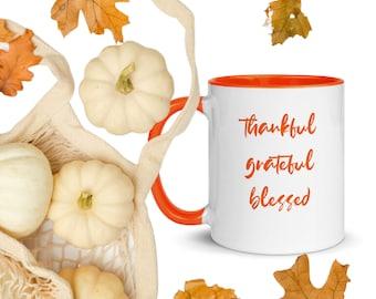 Thankful Grateful Blessed Mug, Orange Trim, Inspirational Mug, Gift for Her, Thankful Gift, Thanksgiving Gift, Hostess Gift, Fall Mug