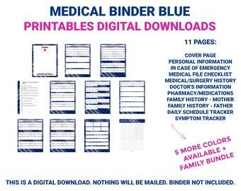 Medical Binder Blue | Medical Printable | Medical Planner | Medical Organizer | Chronic Illness | Printable | Digital Download