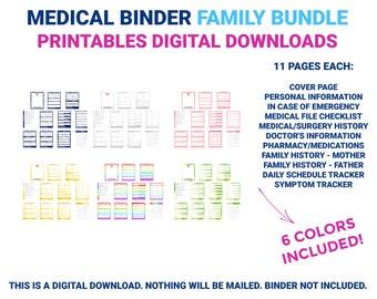 Medical Binder Family Bundle | Medical Printable | Medical Planner | Medical Organizer | Chronic Illness | Printable | Digital Download