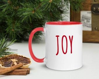Joy Christmas Mug, Red Trim, Christmas Gift, Holiday Gift, Holiday Coffee Mug, One Word Mug, Holiday Drinkware, Minimalist