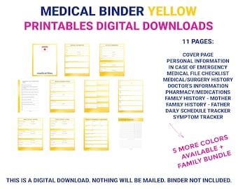 Medical Binder Yellow | Medical Printable | Medical Planner | Medical Organizer | Chronic Illness | Printable | Digital Download