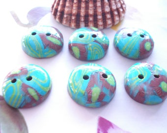 6 buttons polymer tropical flowers
