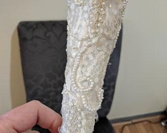 Victorian bouquet holder,shabby chic,bridal bouquet,vintage appliques