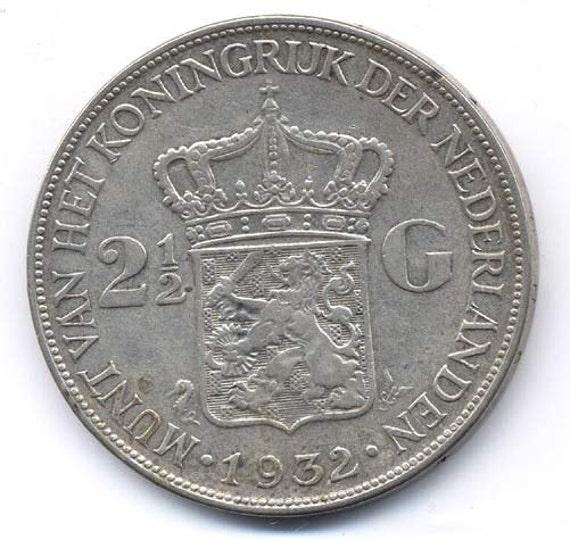 1932 Niederlande 2 12 Gulden Silber Münze Etsy