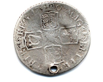1707 British Silver 6 Pence W/Hole (Queen Anne)