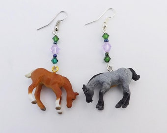 Quarter horse swarovski crystal earrings Equestrian Horse crazy jewelry