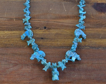 Vintage Southwestern Turquoise Fetish Necklace