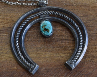 Vintage Navajo Sterling Silver Turquoise Naja Necklace