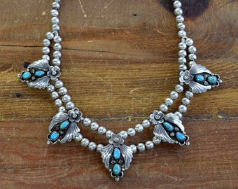 Vintage Turquoise Sterling Silver Shadowbox Necklace