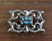 Vintage Navajo Sandcast Sterling Silver and Turquoise Belt Buckle by F.J. Henry