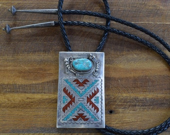 06e3c9a32227 Vintage Navajo Sterling Silver Turquoise and Coral Chip Inlay Bolo Tie