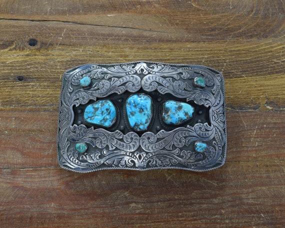 d4e8c8cba37f Navajo Vintage Shadowbox boucle de ceinture Turquoise argent   Etsy