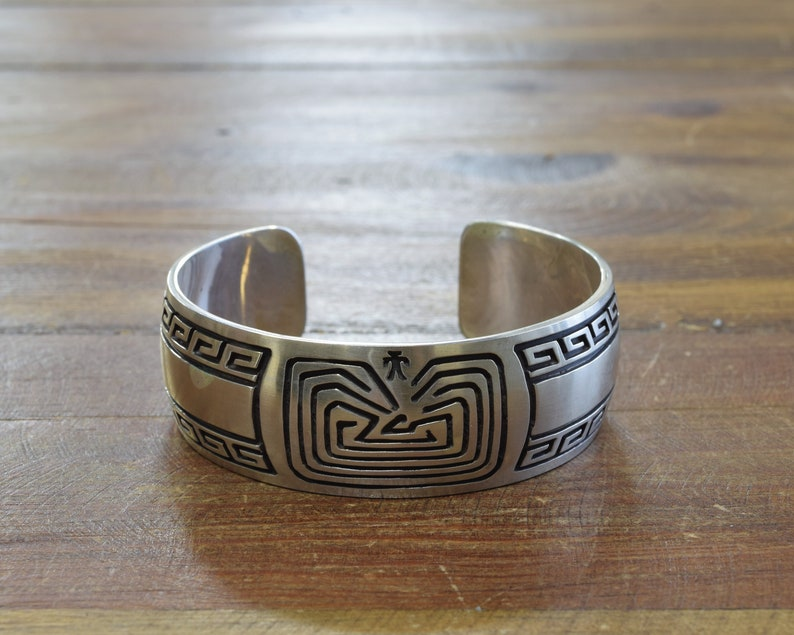 6fe3881bd8fd Vintage Sterling Silver Man in the Maze Overlay Cuff Bracelet | Etsy