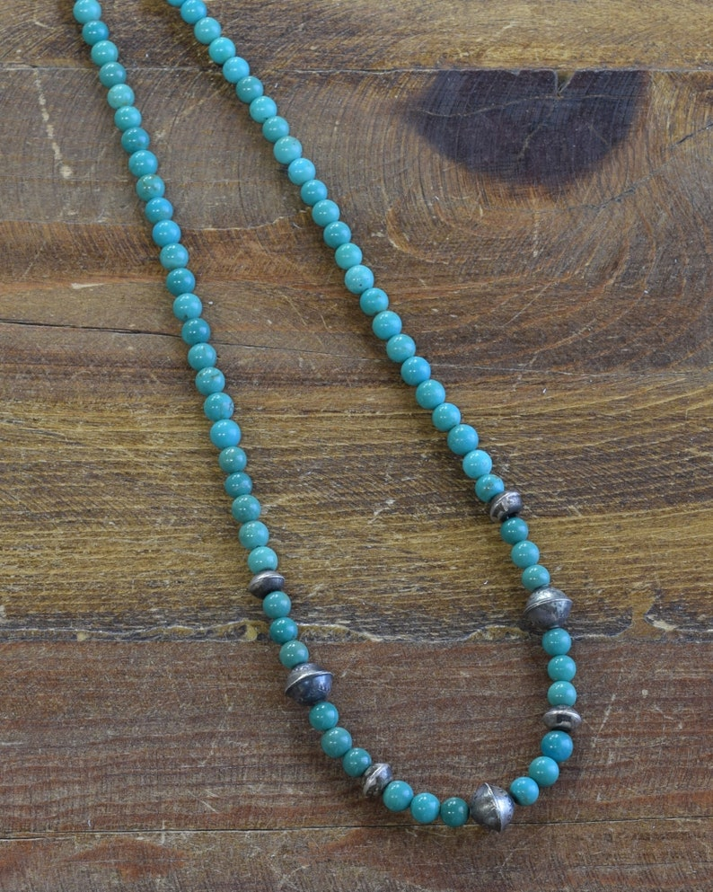 Navajo Turquoise and Sterling Silver Bead Necklace