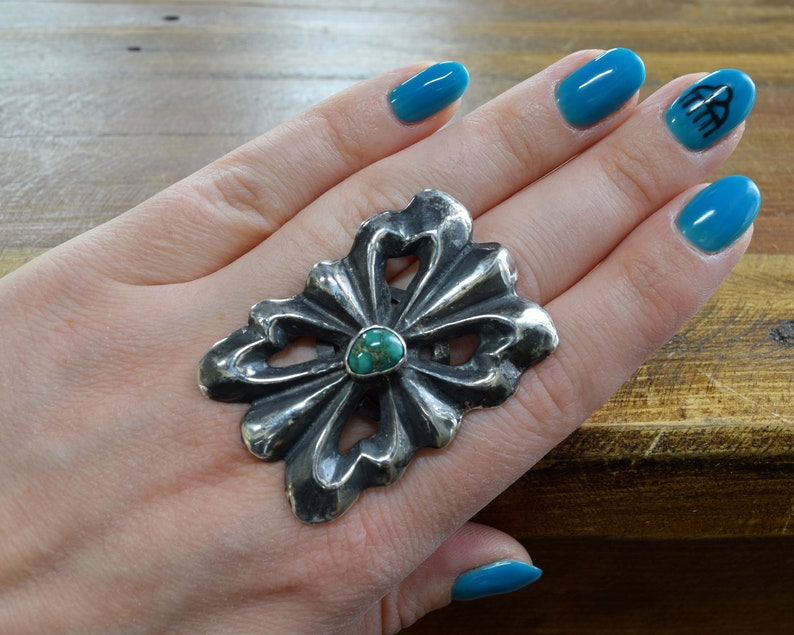 Vintage Sterling Silver and Turquoise Sandcast Statement Ring