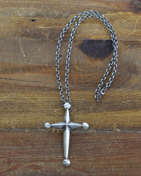 Sandcast Sterling Silver Cross Necklace