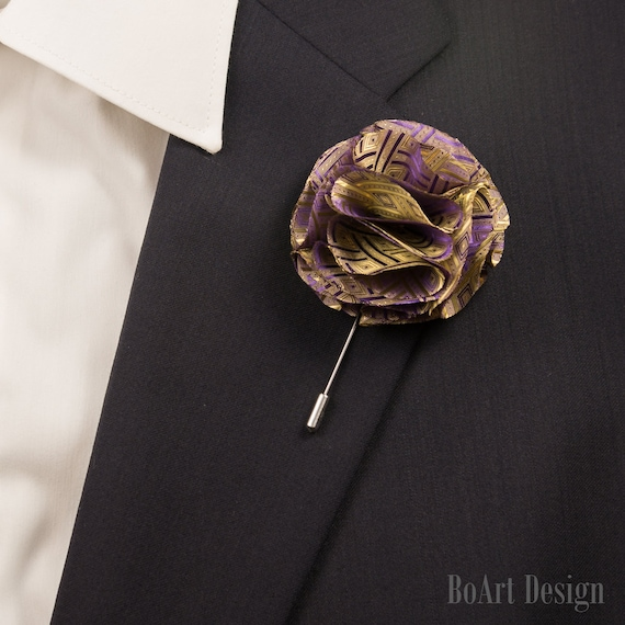 Lapel Stick Pin/Purple and Gold Carnation Lapel Pin/Lapel Pin/Flower  Pin/Lapel Flower/Mens Lapel Flower/Wedding Accessories/Brooch