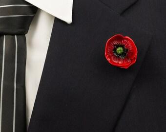 Poppy Flower Polymer Clay Lapel Pin/Brooch/Mens Lapel Pin/Poppy Brooch/Poppy Lapel/Flower Lapel Pin