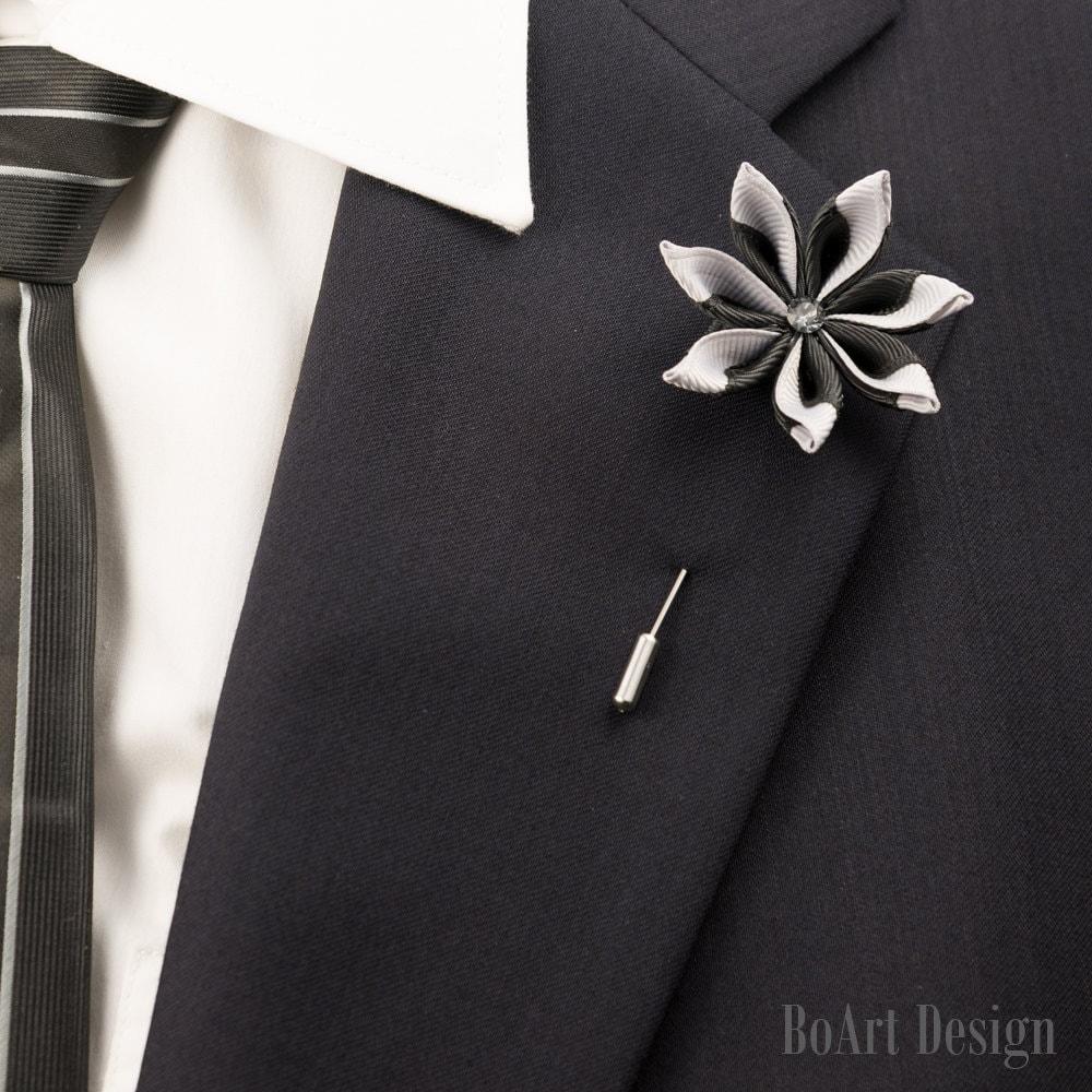 Stylish Beautiful Black Flower Lapel Pin: Black/Gray Kanzashi Flower Lapel Pin With Swarovski Silver