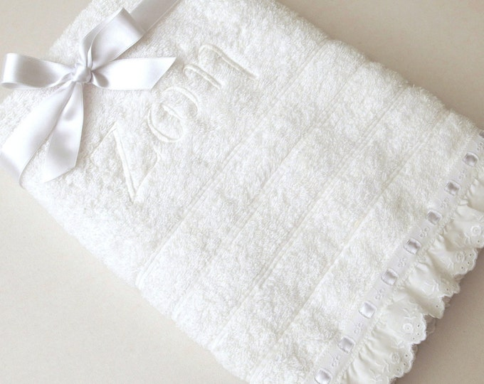 2 Pcs Towel Set Orthodox Baptism Bath Towels Baptism Gift Embroidered Ribbed Terry Towel Eyelet Lace Satin Ribbon Monogram Baby Towel Greek