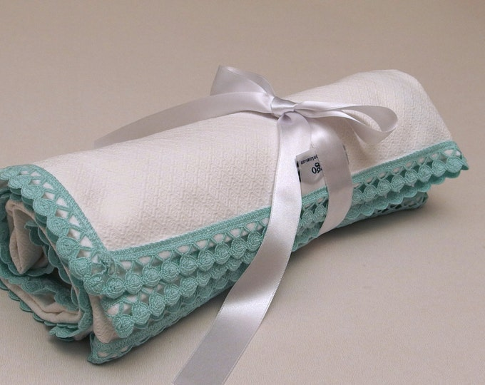 Flannel Blanket White Green Baby Blanket  Mint Dots Lace Baby Blanket Pique Flannel Baby Girl Blanket Crib Swaddle Blanket Baby Shower Gift