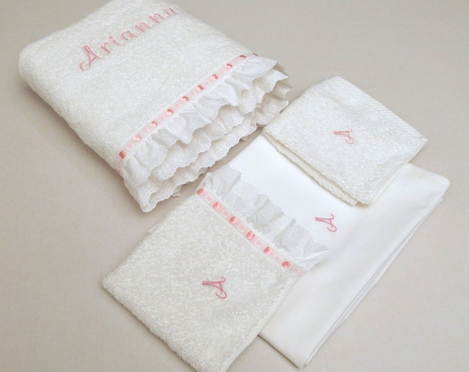 4 Pieces Towel Set Orthodox Baptism Bath Towels Baptism Gift Embroidered Terry Towel Eyelet Lace Satin Ribbon Monogram Baby Towel Greek