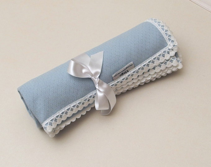 Flannel Baby Blanket Receiving Blanket Blue White Dots Lace Boy Blanket Pique Flannel Baby Blanket Crib Swaddle Blanket Baby Shower Gift