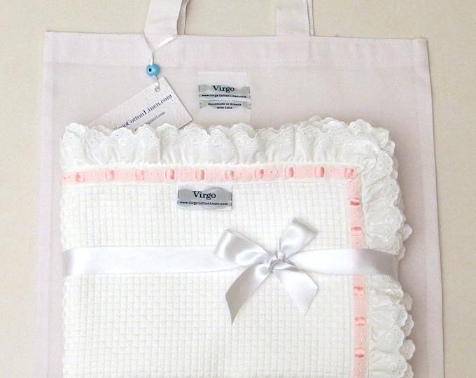 Christening Blanket Cotton Embroidered White Lace Pink Baby Blanket Girls Crib Pique Blanket Baby Boys Shower Gift Stroller Toddler Blanket