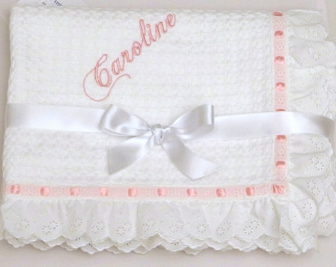 Baptism Baby Blanket White Cotton Lace Embroidered Eyelet Personalized Pique Blanket Boy Girl Shower Gift Crib Stroller Toddler Blanket