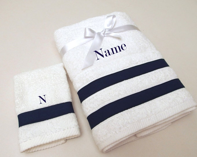 2Pcs Navy Baptism Towel Set Personalized Navy Bath Towels Baptism Gift Embroidered Ribbed Terry Towel Ribbed Monogrammed Baby Towel Greek