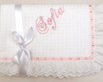 Christening Baby Blanket White Cotton Lace Embroidered Eyelet Personalized Pique Blanket Boy Girl Shower Gift Crib Stroller Toddler Blanket