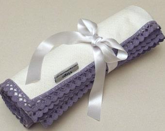 White Lavender Baby Blanket Flannel Blanket Lace Blanket Pique Flannel Baby Blanket Dots Crib Swaddle Blanket Baby Shower Gift