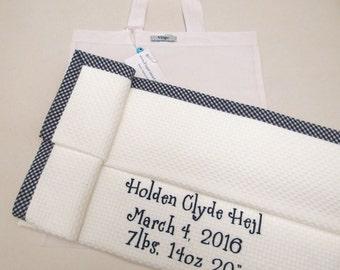 Baptism Blanket Baby Blanket Cotton Christening Personalized Blanket White Pique Navy Blue Check  Boys Girls Gift Stroller Toddler Blanket