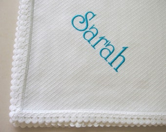 Personalized Baby Blanket Flannel Blanket Flannel Baby Blanket Dots Lace Baby Blanket Pique Flannel Crib Swaddle Baptism Baby Shower Gift