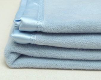 Baby Blanket Blue Cotton Fleece Baby Blanket Soft Boys Blanket Girls Blanket Warm Blanket Swaddle Blanket Shower Gift Crib Toddler Blanket