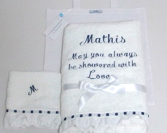 2 Pieces Towel Set Baby Shower Gift Personalized Baby Towel Embroidered Eyelet Lace Satin Ribbon Boy Girl Navy Blue Large Bath Towel Unisex
