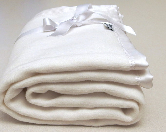 Baby Blanket White Cotton Fleece Baby Blanket Satin Trimmed Blanket Crib Swaddle Blanket Baby Shower Gift Stroller Toddler Blanket